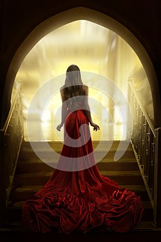 Elegant Woman Silhouette in Long Red Gown, Lady Back Rear View