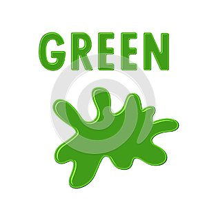 Sign `GREEN` and green paint blot on white background. Color ink drop. Cartoon vector illustration