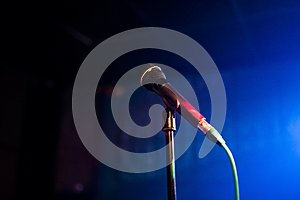 Microphone on a stand in the club