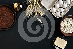 Dough preparation recipe bread, pizza or pie making ingredients, food flat lay on kitchen table background. Working with