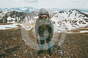 Bearded Man mountaineering Travel Lifestyle survival concept