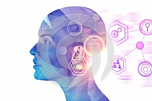 Artificial intelligence and cyberspace concept