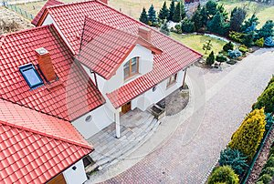 Aerial drone view on single family house
