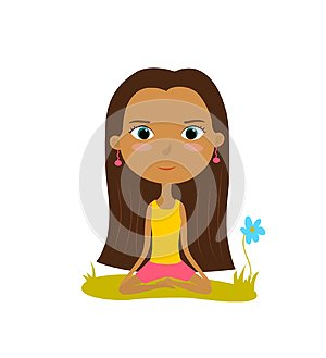 Pretty young girl practices yoga in the lotus position. Meditation and relaxation poster. Vector illustration