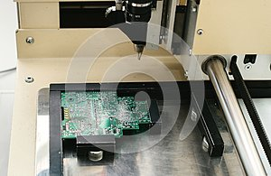 Automation of machine assembly of computer circuit board in the factory for the production of computer components. The