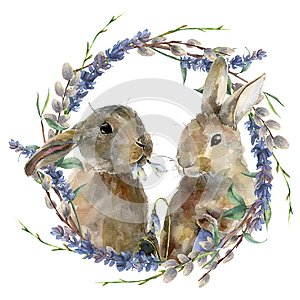 Watercolor Easter bunny with floral wreath. Hand painted rabbit with lavender, willow and tree branch isolated on white