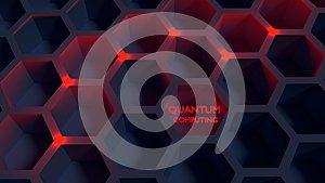 Black honeycomb net with red glowing nodes quantom computing con