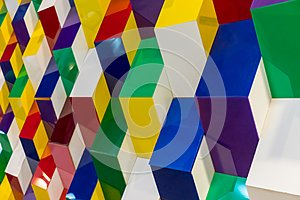 Colorful acrylic structure pattern creating abstract geometric w