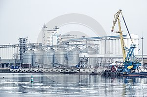 Port grain elevator. The Don river and the port. Industrial zone. Russia, Rostov-on-Don.