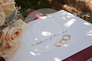 Certificate of Marriage, Rings & Bouquet