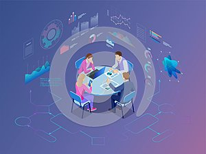 Isometric business people talking conference meeting room. Team work process