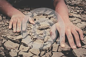 Human hands on cracked dry ground