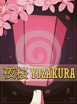 Lantern and Cherry Flowers for Yozakura in a Spring Night, Vector Illustration