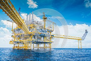 Offshore oil and gas industry produced raw gas and crude then sent to onshore refinery.