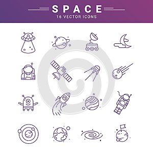 Vector line icon set for astronomy