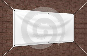 Blank White Indoor outdoor Fabric & Scrim Vinyl Banner for print design presentation. 3d render illustration.