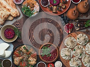 Georgian cuisine on wood table,top view,copy space