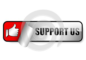 support us glossy web button