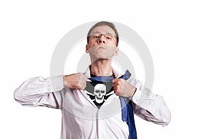 The office man opens a white shirt and shows a pirate symbol skull and bones. Isolated