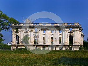 Ruins of the Cantacuzino Palace, also known as the `Little Trianon` in Floresti, Prahova County, Romania