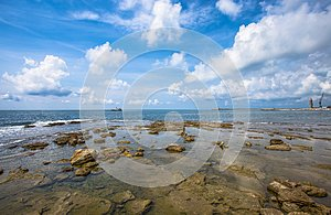 Clear water and rocks near the beach/ water/ sea/ clear/ blue/ Livorno/ Tuscany/ Italy