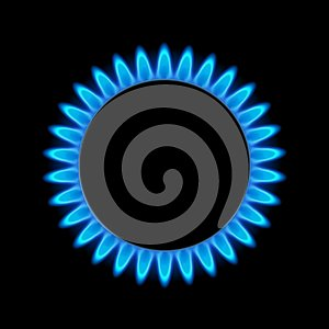 Gas flame blue energy. Gas stove burner for cooking. Fire heat butane or propane natural power