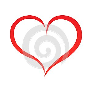 Abstract heart shape outline. Vector illustration. Red heart icon in flat style. The heart as a symbol of love.