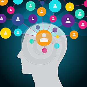 People in social network, communication, contacts, business. Social media in the head. Flat design, icons