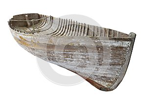 Old wooden boat hull isolated.