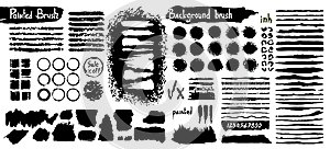 Big collection of black paint, ink brush strokes, brushes, lines, grungy. Dirty artistic design elements, boxes, frames. Vector il