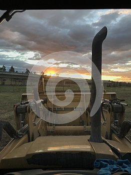 View from loader at sunset