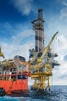 Offshore oil and gas production and exploration, tender rig work over remote platform.