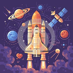 Space exploration concept. Space objects flat illustration