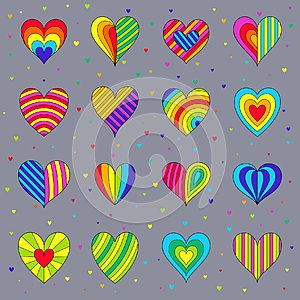 Set of Сhildren`s Bright Colorful Hearts Isolated on Grey Backg
