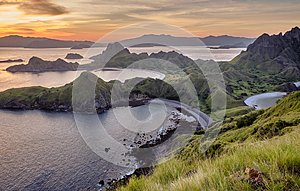 View at top of `Padar Island` in sunset from Komodo Island, Komodo National Park, Labuan Bajo, Flor