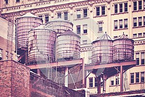 Water tanks on a roof, New York City.