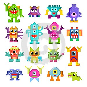 Monster alien vector cartoon pixel monstrous character of monstrosity and alienation illustration monstrously set of