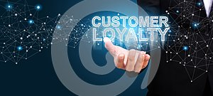 Businessman showing Customer Loyalty. Customer Loyalty concept