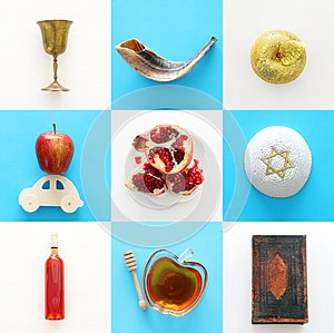 Rosh hashanah jewish New Year holiday collage concept. Traditional symbols.