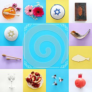 Rosh hashanah & x28;jewish New Year holiday& x29; collage concept. Traditional symbols.
