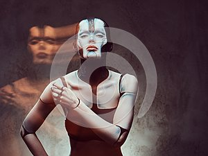 Sensual cyber woman with creative make-up. Technology and future concept. Isolated on a dark textured background.