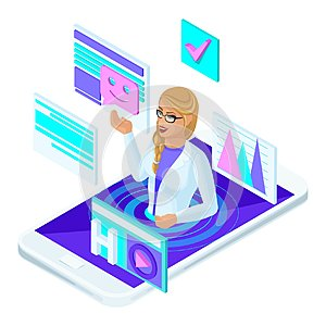 Isometric concept of online consultation of a female doctor of medicine, a social site with a live doctor`s communication