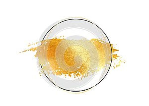 Gold glitter foil brush stroke vector. Golden paint smear with circle round border frame isolated on white. Glow metal