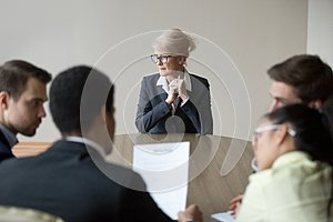 Woman passing job interview in the office at boardroom