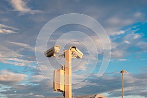 Street video surveillance of public order, video cameras on a pole