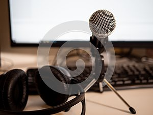 Podcast studio: microphone and computere