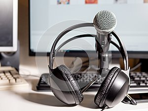 Podcast studio: Microphone with headphones and computers