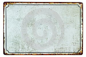 A old blank rusty metal sign