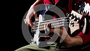 Play the guitar. Live music background. Music festival. Instrument on stage and band. Music concept. Electric guitar