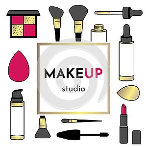 Vector Illustration business card for makeup artist or salon studio with makeup tools: brushes, drop bottles of foundation, shadow